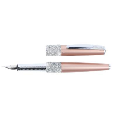 Stylo plume cristaux SWAROVSKI - or rose - F (0,3 mm) - BLEU