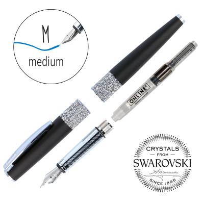 Stylo plume cristaux SWAROVSKI - noir - M (0,5 mm) - BLEU