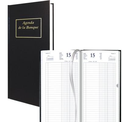 Agenda de la Banque BREPOLS Jupiter Long 15,4 x 33 cm - Euros et centimes - 1 jour sur 2 pages