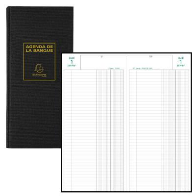Agenda EXACOMPTA banquier - 1 volume - 34x16cm - 1 jour sur 2 pages - Noir