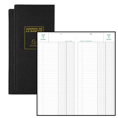 Agenda EXACOMPTA banquier - 2 volumes - 340x160mm - 1 jour sur 2 pages - Noir