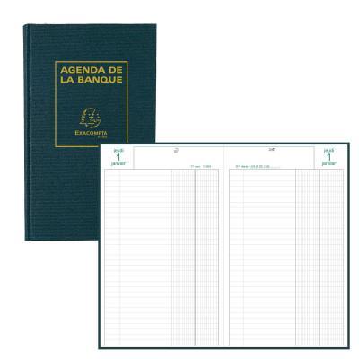 Agenda EXACOMPTA banquier - 1 volume - 280x175mm - 1 jour sur 2 pages - Noir
