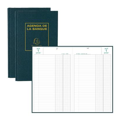 Agenda EXACOMPTA banquier - 2 volumes - 280x175mm - 1 jour sur 2 pages - Noir