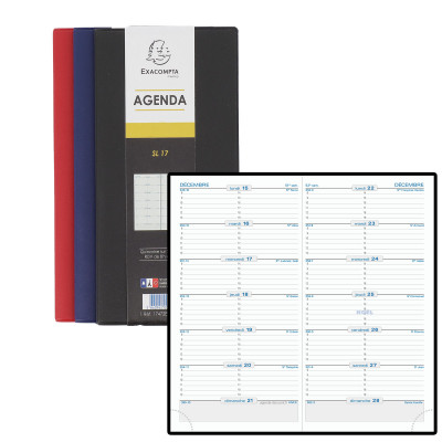 Agenda EXACOMPTA de poche SL17 Barbara - 175x90mm - 1 semaine sur 2 pages (COLORIS ALEATOIRES)
