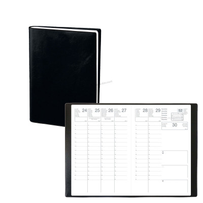 Agenda ECO - 10x15 cm - CALYPSO ML Alpha noir - 1 semaine sur 2 pages