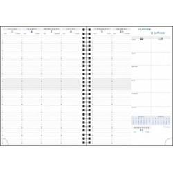 Agenda à spirale EXACOMPTA Consultations W 29,7 x 21 cm - 1 semaine sur 2 pages - RDV 1/4h
