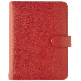Organiseur OBERTHUR 17 GRACETOWN en cuir de vachette couleur rouge - format 14x18,5cm