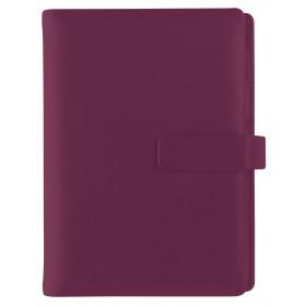 Organiseur OBERTHUR 17 LAUSANNE en cuir de vachette couleur framboise - format 14x18,5cm