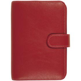 Organiseur OBERTHUR 17 MILANO en toile enduite couleur rouge - format 14x18,5cm