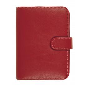 Organiseur OBERTHUR 13 MILANO en toile enduite couleur rouge - format 10,5x14,5cm