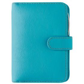 Organiseur OBERTHUR 13 MILANO en toile enduite couleur turquoise - format 10,5x14,5cm