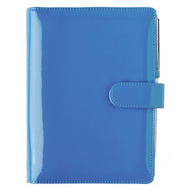 Organiseur OBERTHUR 13 PALMA en Pu vernis couleur bleu - format 10,5x14,5cm