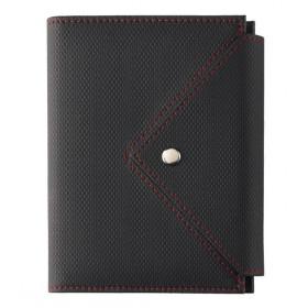 Organiseur OBERTHUR 13 ASCOT en PU couleur noir/rouge - format 10,5x14,5cm