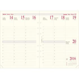Recharge pour organiseur OBERTHUR 21 - 15x21cm - 1 semaine sur 2 pages verticale