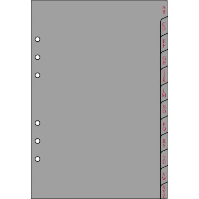 Recharge 12 intercalaires alphabétiques pour organiseur OBERTHUR 21 - format 15x21cm