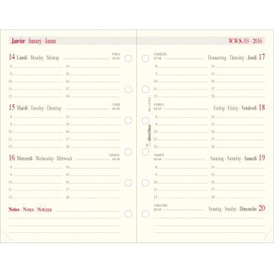 Recharge pour organiseur OBERTHUR 13 - 8x13cm - 1 semaine sur 2 pages horizontale