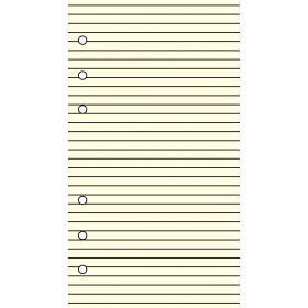 Recharge 30 feuillets ivoires lignés pour organiseur OBERTHUR 13 - format 8x13cm