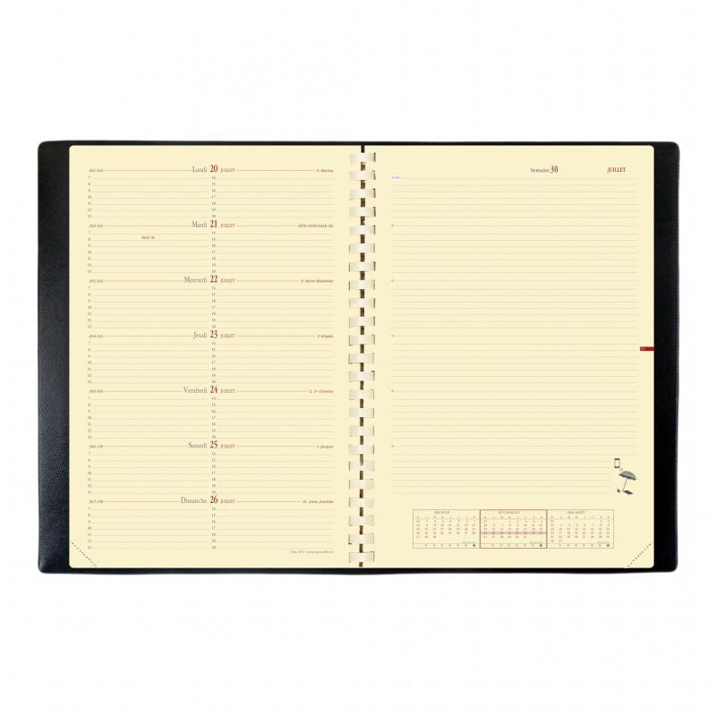 Agenda QUOVADIS Note 29® S noir 21 x 29,7 cm - 1 semaine sur 2 pages - spirale