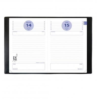 Agenda QUOVADIS Textagenda 12 x 17 cm - 1 jour par page couverture impala noir