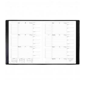 Agenda QUOVADIS Le principal 18 x 24 cm - 1 semaine sur 2 pages couverture impala noir + répertoire