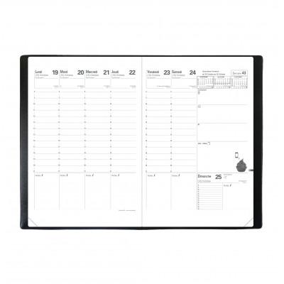 Agenda QUOVADIS Planning SD 18 x 24 cm 16 mois - 1 semaine sur 2 pages couverture Club Noir Ebène