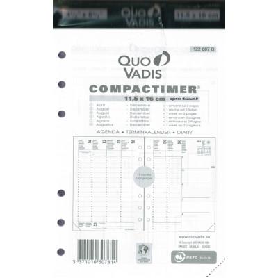 Recharge QUOVADIS compactimer 11,5 x 16 cm Août - Décembre