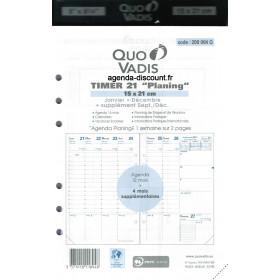 Recharge agenda QUOVADIS Timer 21 Planing 15x21cm janvier - décembre + supplément septembre à décembre 16 mois