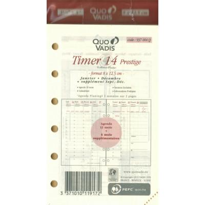 Recharge QUOVADIS Timer 14 prestige ivoire 8x12.5cm Janvier - décembre + sept/décembre à la verticale