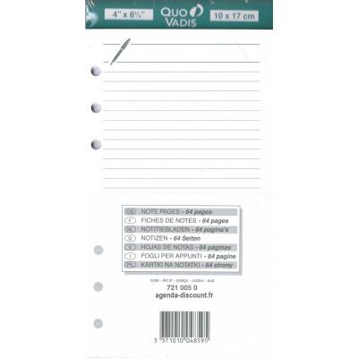 Recharge QUOVADIS Notes papier ligné blanc 10 x 17cm pour TIMER 17 - 64 pages