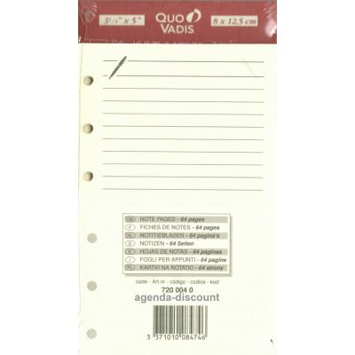 Recharge QUOVADIS Notes papier ligné ivoire 8 x 12,5cm pour TIMER 14