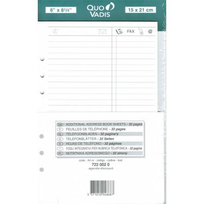 QUOVADIS Recharge 32 feuilles de téléphone pour TIMER 21